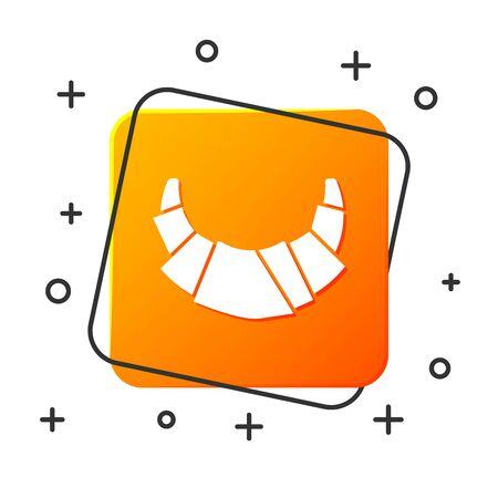 White Croissant icon isolated on white background. Orange square button. Vector Illustration Ilustração