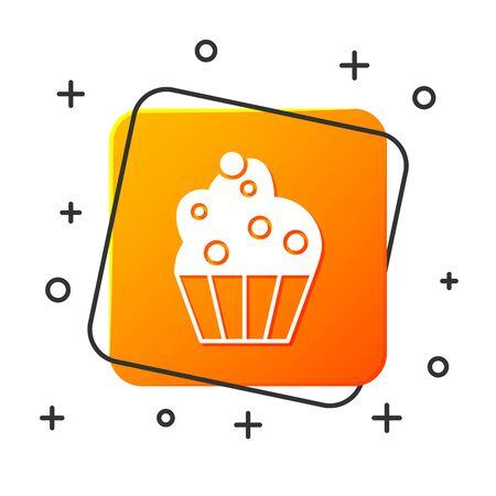 White Cupcake icon isolated on white background. Orange square button. Vector Illustration Archivio Fotografico - 131928872