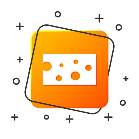 White Cheese icon isolated on white background. Orange square button. Vector Illustration Иллюстрация