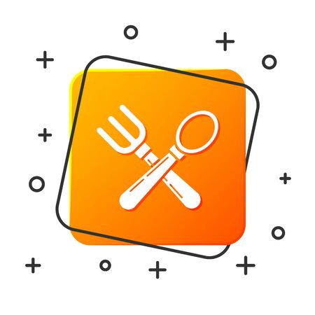 White Crossed fork and spoon icon isolated on white background. Cooking utensil. Cutlery sign. Orange square button. Vector Illustration Çizim