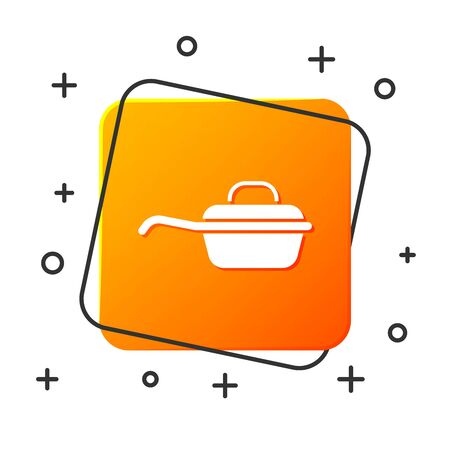 White Frying pan icon isolated on white background. Fry or roast food symbol. Orange square button. Vector Illustration