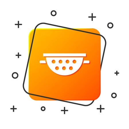 White Kitchen colander icon isolated on white background. Cooking utensil. Cutlery sign. Orange square button. Vector Illustration Çizim