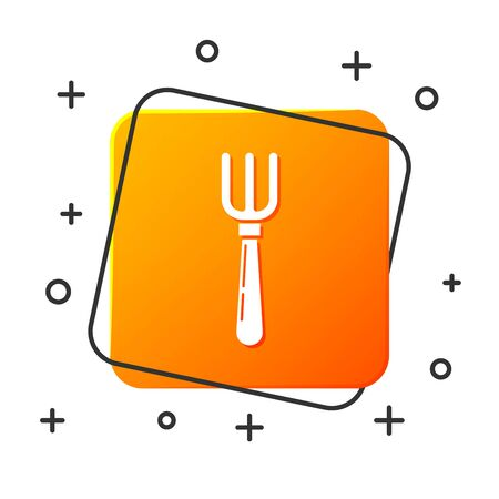 White Fork icon isolated on white background. Cutlery symbol. Orange square button. Vector Illustration