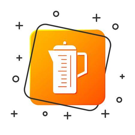 White Teapot icon isolated on white background. Orange square button. Vector Illustration