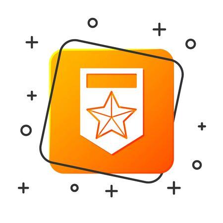 White Chevron icon isolated on white background. Military badge sign. Orange square button. Vector Illustration