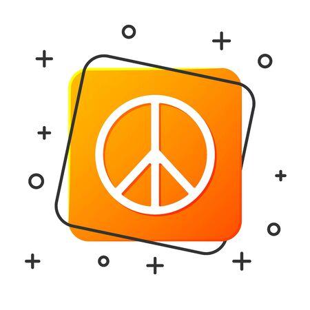 White Peace icon isolated on white background. Hippie symbol of peace. Orange square button. Vector Illustration Çizim