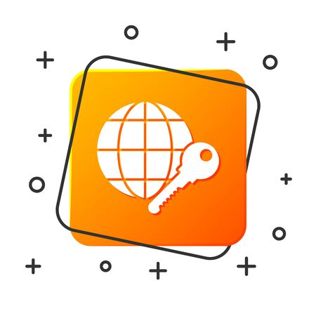 White Globe key icon isolated on white background. Orange square button. Vector Illustration