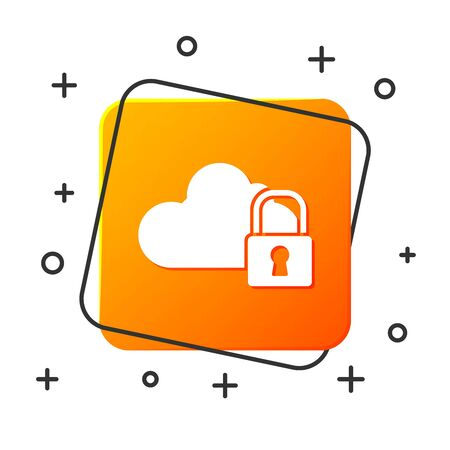 White Cloud computing lock icon isolated on white background. Security, safety, protection concept. Protection of personal data. Orange square button. Vector Illustration