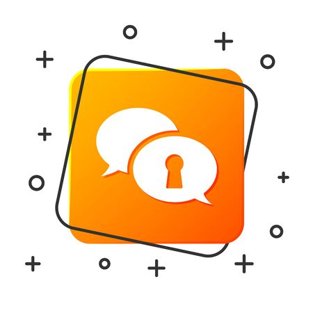 White Protection of personal data icon isolated on white background. Speech bubble and key. Orange square button. Vector Illustration