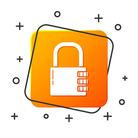 White Safe combination lock icon isolated on white background. Combination padlock. Security, safety, protection, password, privacy. Orange square button. Vector Illustration