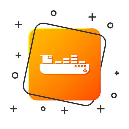 White Cargo ship with boxes delivery service icon isolated on white background. Delivery, transportation. Freighter with parcels, boxes, goods. Orange square button. Vector Illustration
