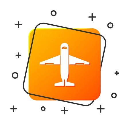 White Plane icon isolated on white background. Delivery, transportation. Cargo delivery by air. Airplane with parcels, boxes. Orange square button. Vector Illustration