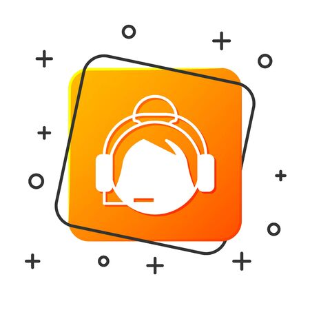 White Woman with a headset icon isolated on white background. Support operator in touch. Concept for call center, client support service. Orange square button. Vector Illustration