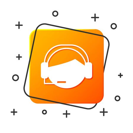 White Man with a headset icon isolated on white background. Support operator in touch. Concept for call center, client support service. Orange square button. Vector Illustration