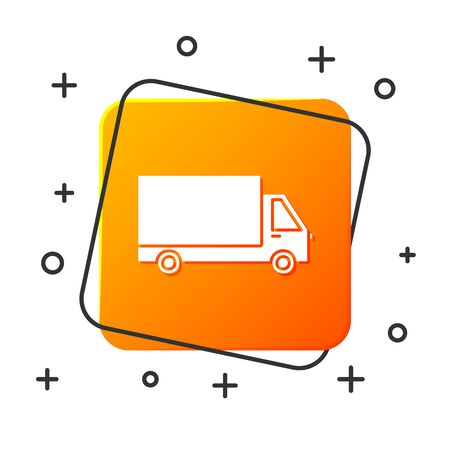 White Delivery cargo truck vehicle icon isolated on white background. Orange square button. Vector Illustration  イラスト・ベクター素材