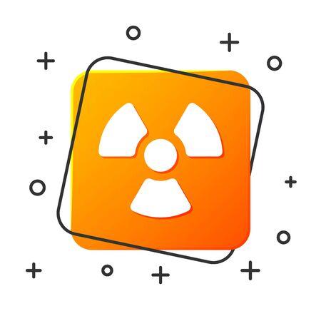 White Radioactive icon isolated on white background. Radioactive toxic symbol. Radiation Hazard sign. Orange square button. Vector Illustration