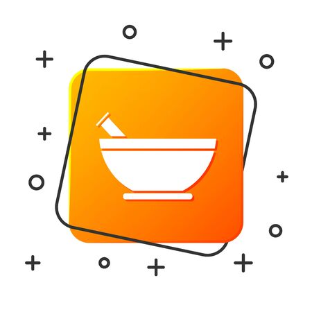 White Mortar and pestle icon isolated on white background. Orange square button. Vector Illustration