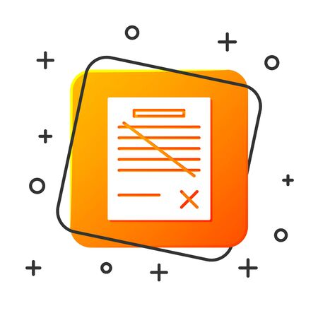 White Delete file document icon isolated on white background. Rejected document icon. Cross on paper. Orange square button. Vector Illustration