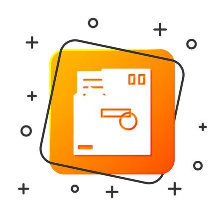 White Ordered envelope icon isolated on white background. Email message letter symbol. Orange square button. Vector Illustration  イラスト・ベクター素材