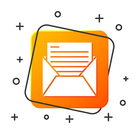 White Mail and e-mail icon isolated on white background. Envelope symbol e-mail. Email message sign. Orange square button. Vector Illustration  イラスト・ベクター素材
