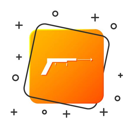 White Fishing harpoon icon isolated on white background. Fishery manufacturers for catching fish under water. Diving underwater equipment. Orange square button. Vector Illustration  イラスト・ベクター素材