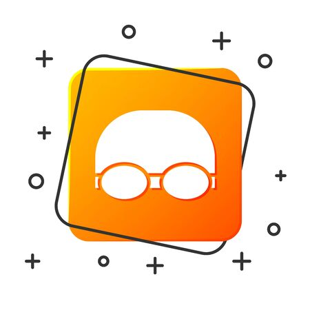 White Glasses and cap for swimming icon isolated on white background. Swimming cap and goggles. Diving underwater equipment. Orange square button. Vector Illustration Çizim