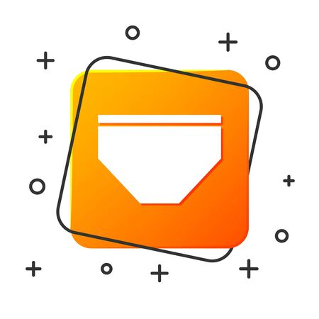 White Swimming trunks icon isolated on white background. Orange square button. Vector Illustration