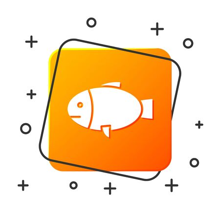 White Fish icon isolated on white background. Orange square button. Vector Illustration