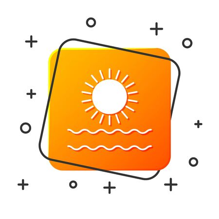 White Sun and waves icon isolated on white background. Orange square button. Vector Illustration