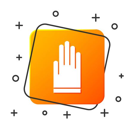 White Gloves icon isolated on white background. Extreme sport. Diving underwater equipment. Orange square button. Vector Illustration
