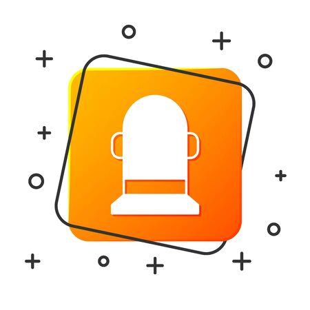 White Buoy icon isolated on white background. Orange square button. Vector Illustration Illustration