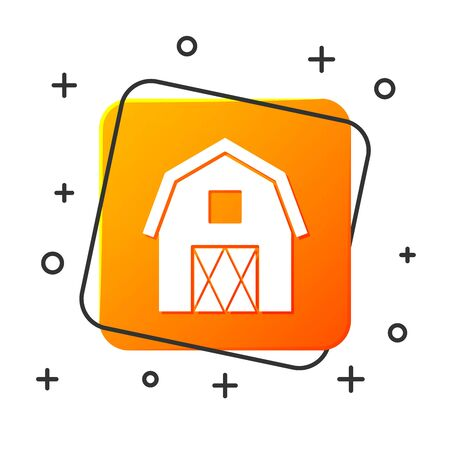 White Farm House concept icon isolated on white background. Rustic farm landscape. Orange square button. Vector Illustration Stock Illustratie