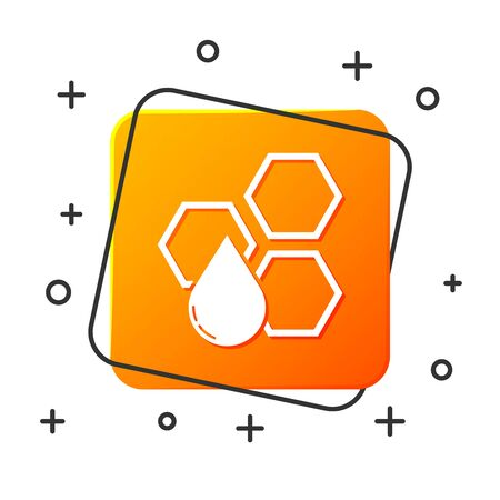 White Honeycomb icon isolated on white background. Honey cells symbol. Sweet natural food. Orange square button. Vector Illustration