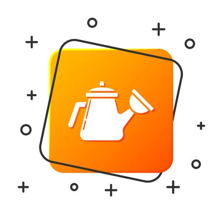 White Watering can icon isolated on white background. Irrigation symbol. Orange square button. Vector Illustration