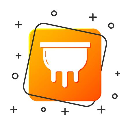 White Udder icon isolated on white background. Orange square button. Vector Illustration
