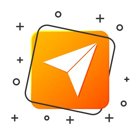 White Paper airplane icon isolated on white background. Orange square button. Vector Illustration Vectores