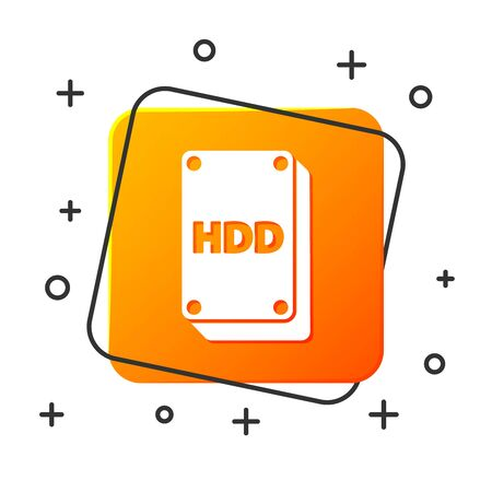 White Hard disk drive HDD icon isolated on white background. Orange square button. Vector Illustration