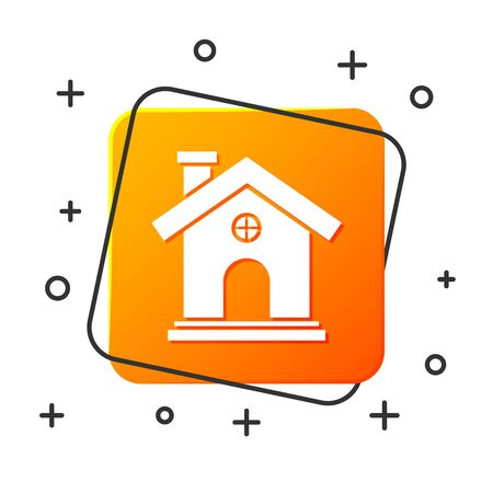 White House icon isolated on white background. Home symbol. Orange square button. Vector Illustration