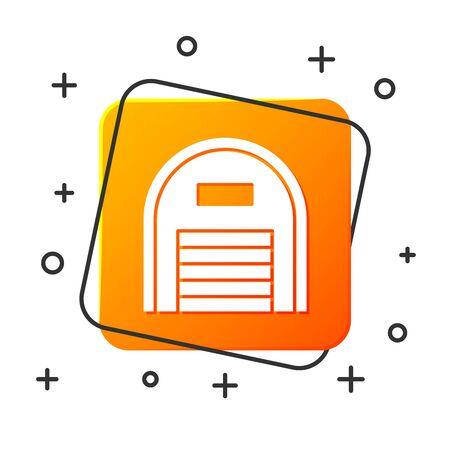 White Warehouse icon isolated on white background. Orange square button. Vector Illustration Illustration