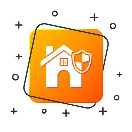 White House with shield icon isolated on white background. Insurance concept. Security, safety, protection, protect concept. Orange square button. Vector Illustration  イラスト・ベクター素材
