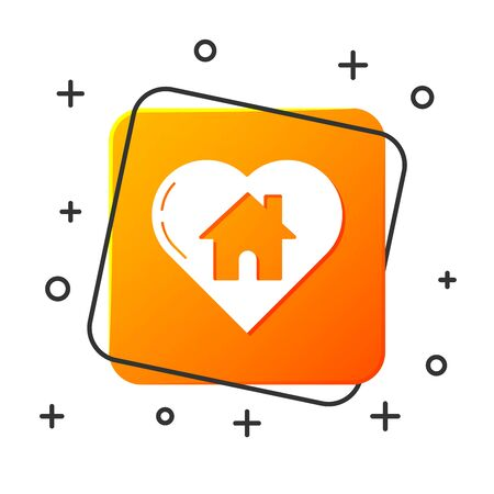 White House with heart shape icon isolated on white background. Love home symbol. Family, real estate and realty. Orange square button. Vector Illustration
