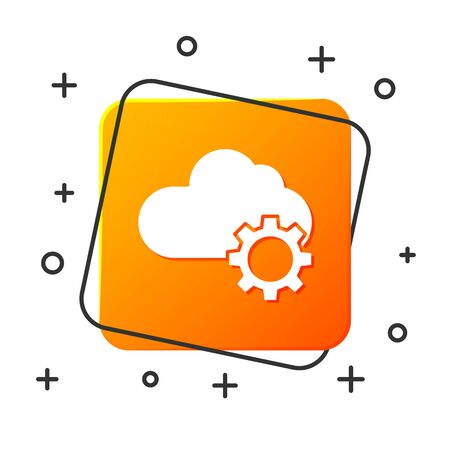 White Cloud technology data transfer and storage icon isolated on white background. Adjusting, service, setting, maintenance, repair, fixing. Orange square button. Vector Illustration