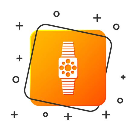White Smartwatch icon isolated on white background. Orange square button. Vector Illustration