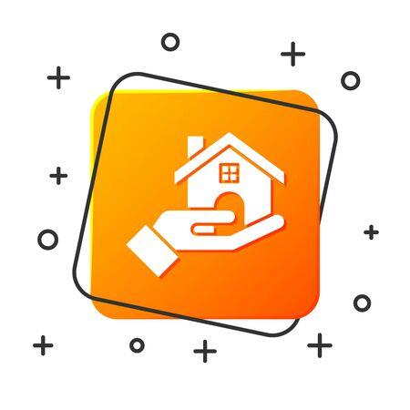White Realtor icon isolated on white background. Buying house. Orange square button. Vector Illustration