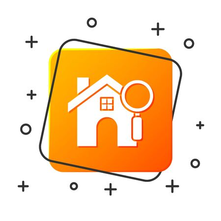 White Search house icon isolated on white background. Real estate symbol of a house under magnifying glass. Orange square button. Vector Illustration