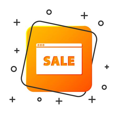 White Hanging sign with text Online Sale icon isolated on white background. Signboard with text Sale. Orange square button. Vector Illustration Ilustração