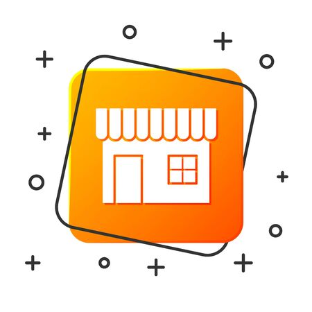 White Shopping building or market store icon isolated on white background. Shop construction. Orange square button. Vector Illustration Illustration