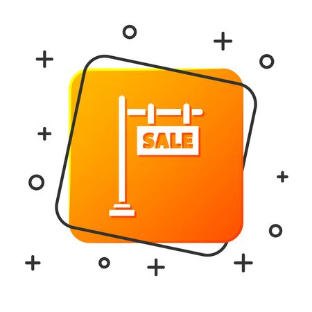 White Hanging sign with text Sale icon isolated on white background. Signboard with text Sale. Orange square button. Vector Illustration
