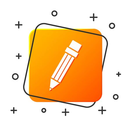 White Pencil with eraser icon isolated on white background. Drawing and educational tools. School office symbol. Orange square button. Vector Illustration Иллюстрация