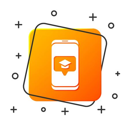 White Graduation cap on screen smartphone icon isolated on white background. Online learning or e-learning concept. Orange square button. Vector Illustration
